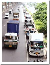 The Nation photo, striking truckers park at Bang Na
