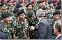Bush with Thai troops, October 2003